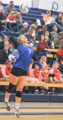 Senior Trista Argabright jumps to serve during action with Hiawatha on Tuesday, October 16. Argabright hit 31 of 33 serve attempts in two matches with Hiawatha.