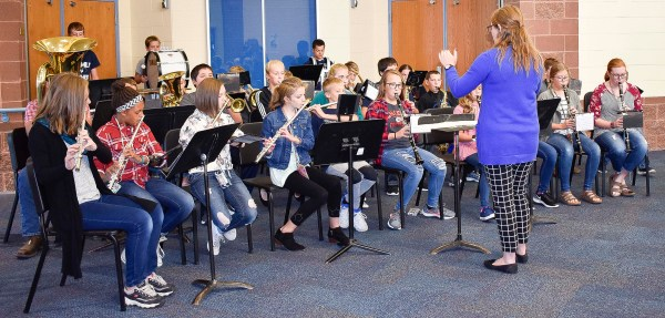 Seventh grade band students perform songs at the Sabetha Middle School Grandparents Day on Wednesday, September 26.