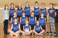 Members of the Sabetha Middle School seventh grade volleyball team are FRONT ROW (L-R) Harper Smith, Taylor Menold and Emerson Montgomery; MIDDLE ROW (L-R) Remi Frank, Mya Grimes, Camryn Duryea and Ellie Wessel; BACK ROW (L-R) Manager Bayley Wasinger, Leah Lukert, Alexia Hayden, Abbey Gugelman, Avery Baumgartner, Nyah Strahm and Manager Gwen Konig. The team finished the season with a 2-5 league record. They went 1-2 in the League Tournament. In the Rossville Tournament, they were 0-6 in pool pay, and in bracket play went 3-3 and finished sixth.