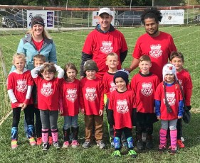 Members of the red kindergarten soccer team are FRONT ROW (L-R) Clara Swinger, Hunter Lehwald, Kendyl Bunck, Star Rudin, Abel Rudin, Landry Strahm, Gabriel Hurts, Stratton Boldra, Isabella Tangeman and Emmett Lehwald; BACK ROW (L-R) Coaches Krystal Tangeman, Trent Strahm and Wes Hurts. Not pictured are Patrick Johnson and Coach Jenna Swinger. The team did not place in the tournament.