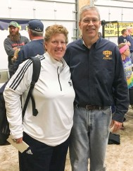 Brenda Holaday, left, is the Head Softball Coach at Washburn University. She was the featured speaker at ShedFest on Saturday, October 6. She is pictured with James Longabaugh, Shed Athletics CEO, right.