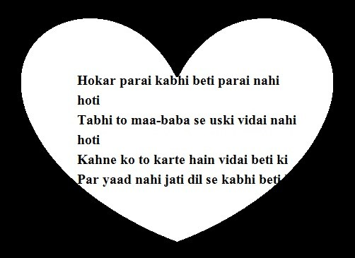 Vidai Shayari, Beti Feeling's, Heart Touching SMS, Quotes, status In Hindi