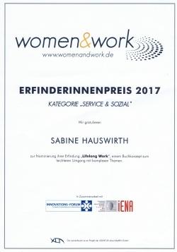 Unternehmensberatung, Unternehmensberatung Rosenheim, women & work erfinderinnenpreis, Sabine Hauswirth