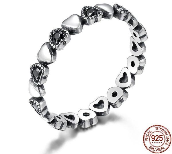 Inel Black Heart din Argint