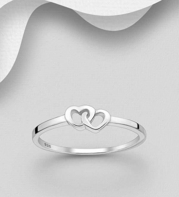Inel din Argint Twining Hearts