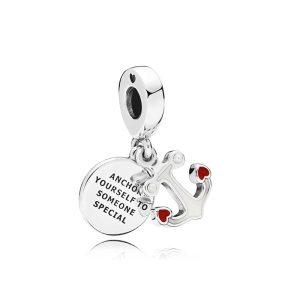 Charm Anchor of Love placat cu argint