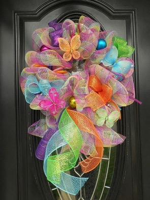 Mesh door wreath March 2018