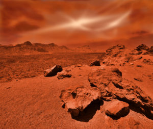 Fantastic martian landscape in rusty orange shades