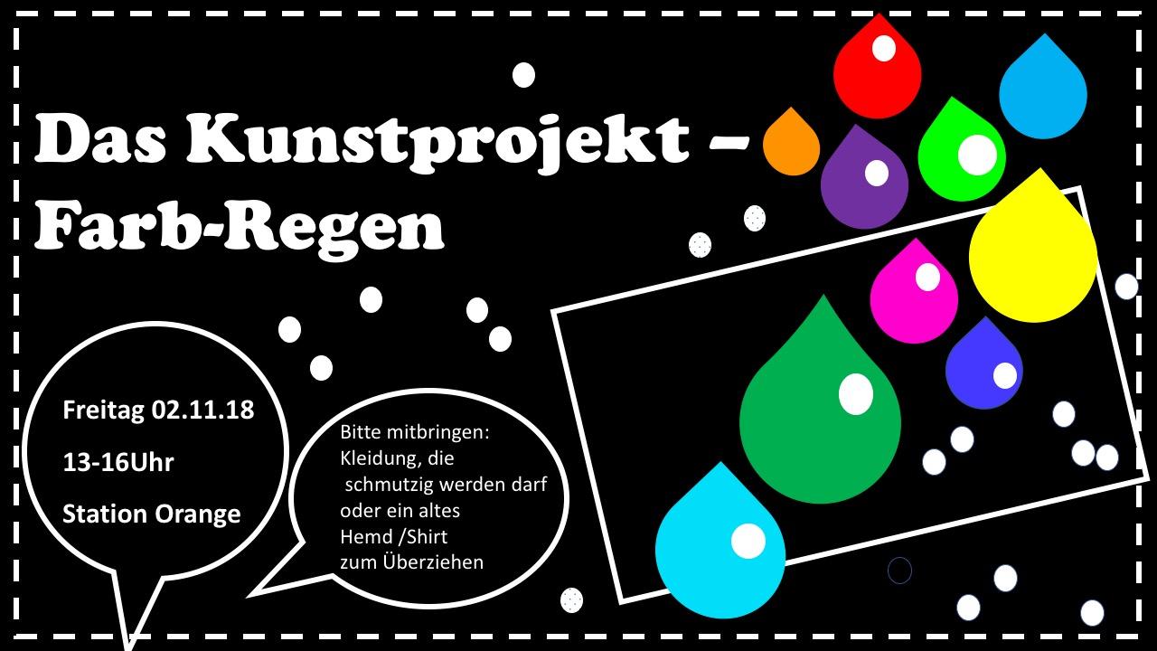 Kunstprojekt, Cover-Folie, bunte Farbtropfen in rot, gelb, grün, dunkelblau, hellblau,lila; Sprechblasen,