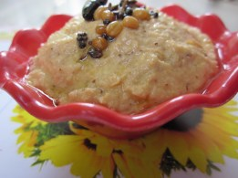 coconut and tomato chutney serving bowl