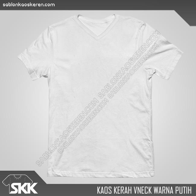 Kaos Polos Kerah V-Neck Putih