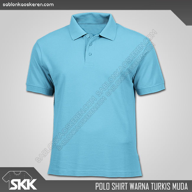 Polo Shirt Warna Turkis Muda