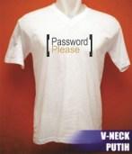 Kaos V-neck putih,bahan cotton combeds, cocok untuk cewek,sablon digital bergambar tulisan/kata-kata, uk. gambar A4,diproses dengan bahan penguat agar hasil sablon menyamai sablon manual. Kode B13-KT8 Harga Rp 50.000