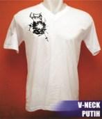 Kaos V-neck hitam,bahan cotton combeds, cocok untuk cowok dan cewek,sablon digital bergambar wayang gatotkaca, uk. gambar max.A4,diproses dengan bahan penguat agar hasil sablon menyamai sablon manual. Kode B13-W6 Harga Rp 60.000