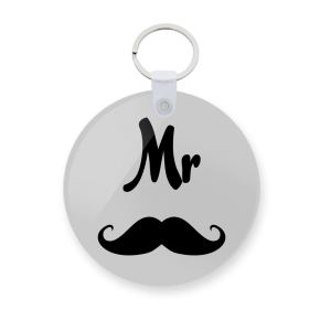 customized Mr & Moustache Keychain - custom printed