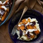 Cuscús con calabaza y cebolla morada asadas con especias