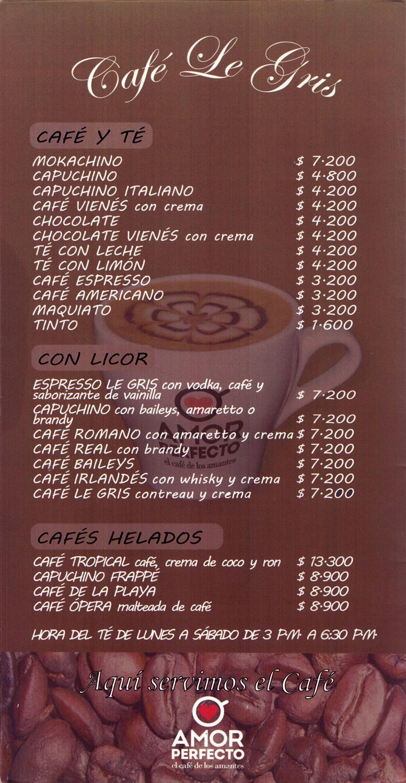 Carta Restaurante Cafe Le Gris  Zona Poblado  Sabor y