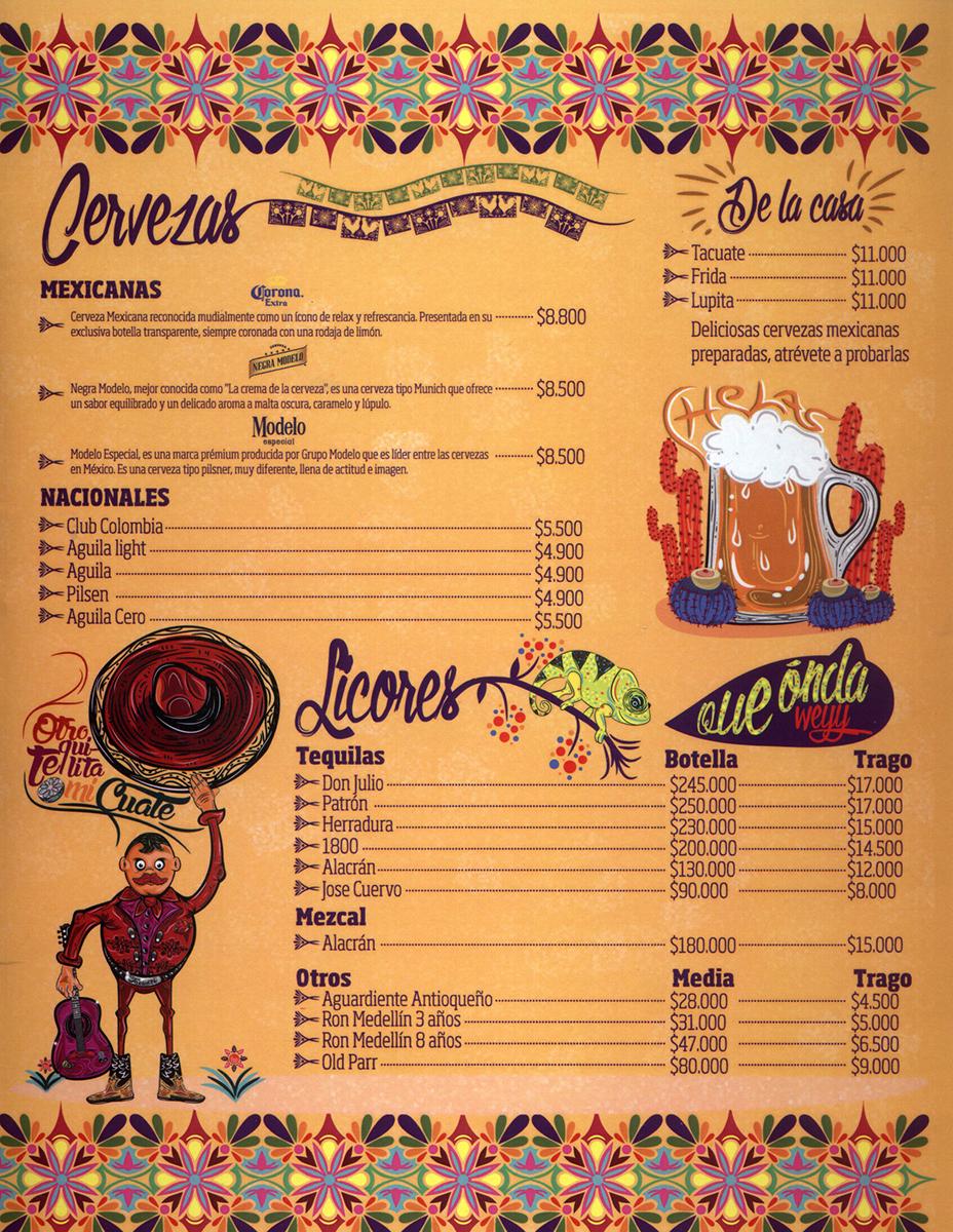 Carta Restaurante Tacuate  Zona Laureles  Sabor y Gusto