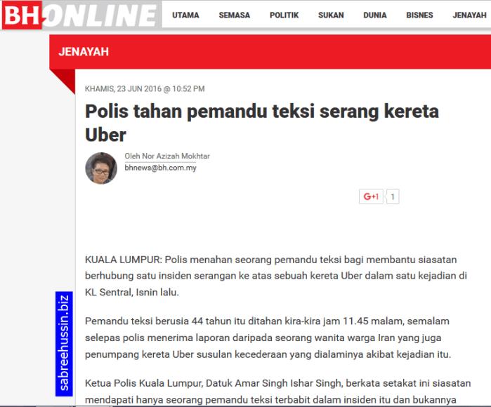 pemandu-teksi-serang-kereta-uber
