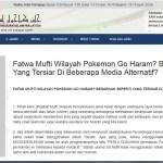 Fatwa yang mengatakan Pokemon dan permainan Pokemon Go adalah HARAM