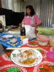 Mince stuffed rice flour pancakes, LP street seller. 18/10 STC's
