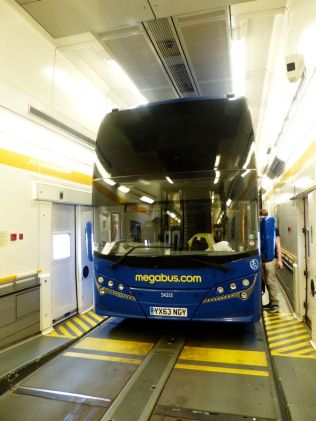 A bus. On a train. In a tunnel.