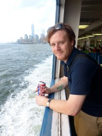Dirk sips a Bud on the Staten Island Ferry
