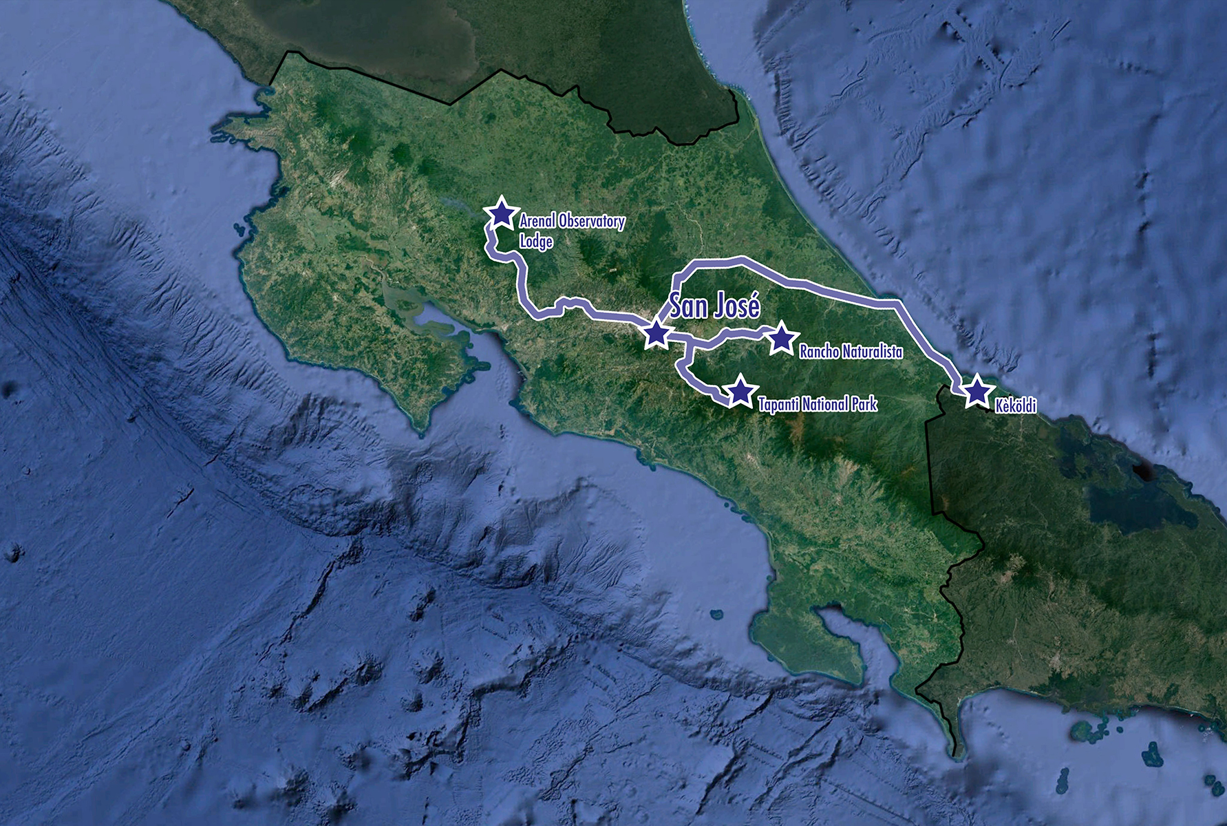 Costa Rica: Raptor Migration Spectacular - Map