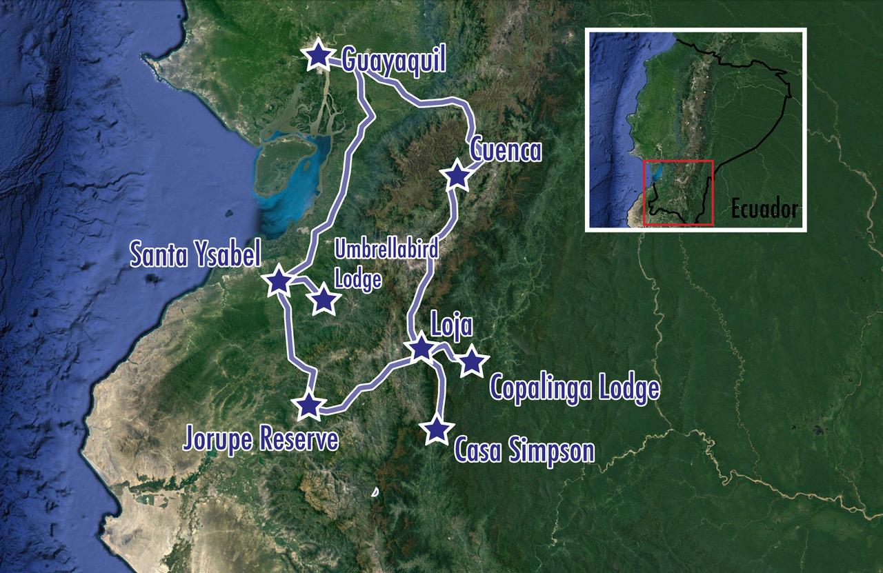 Ecuador: Jocotoco Antpitta, Tumbesian Endemics, and More! - Map