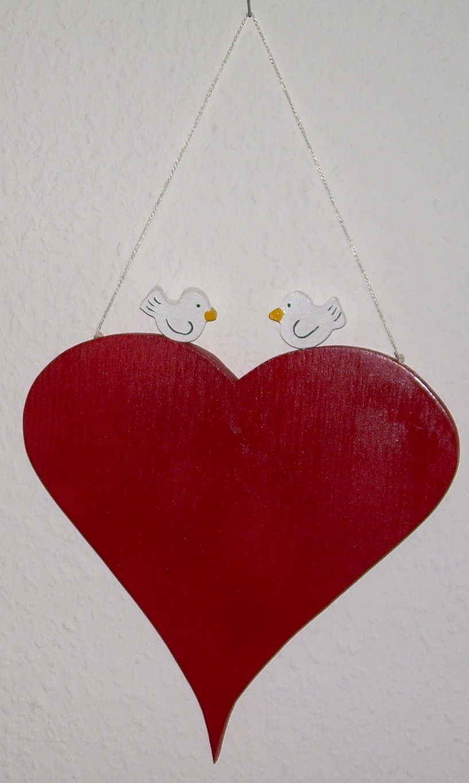 Tuerschild Herz mit Tauben  Originelle Deko  Geschenke