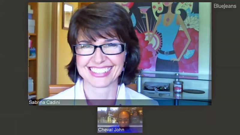 sabrina cadini being interviewed by cheval john of vallano media on the facebook live show what's the word about entrepreneurship and social media including live video