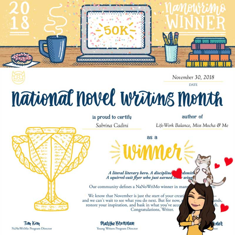 sabrina cadini nanowrimo challenge writing project winner facebook group creative entrepreneurs business coaching