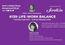 sabrina cadini guest sree sreenivasan global daily show covid-19 live streaming life-work balance interview holistic life coach