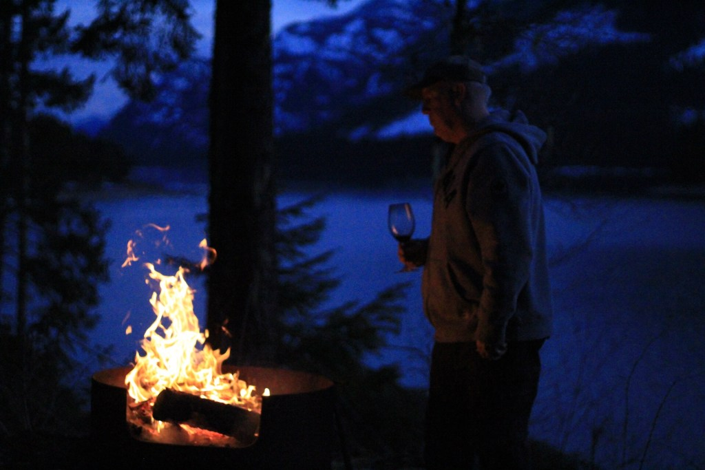 West Coast Campfire At Lake