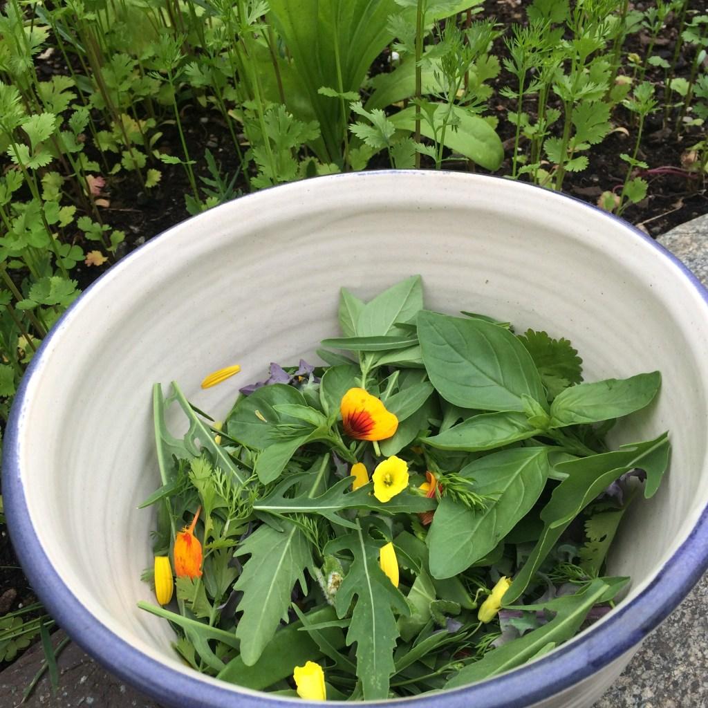 garden salad with flowers