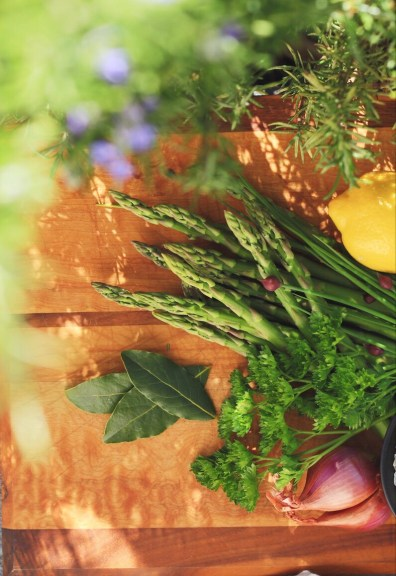 Garden Fresh Ingredients For Lemon Asparagus Risotto