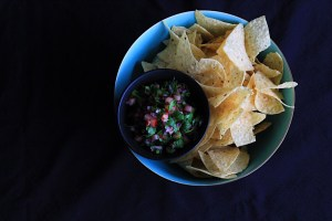 Rhubarb Salsa And Tortilla Chips