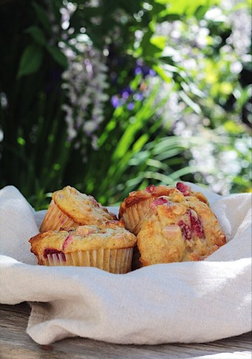 Strawberry rhubarb muffins in a bowl