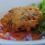 Crispy Crab Cake with Red Pepper Sauce