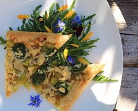 Fiddlehead Farmhouse Cheddar Tart with Leeks