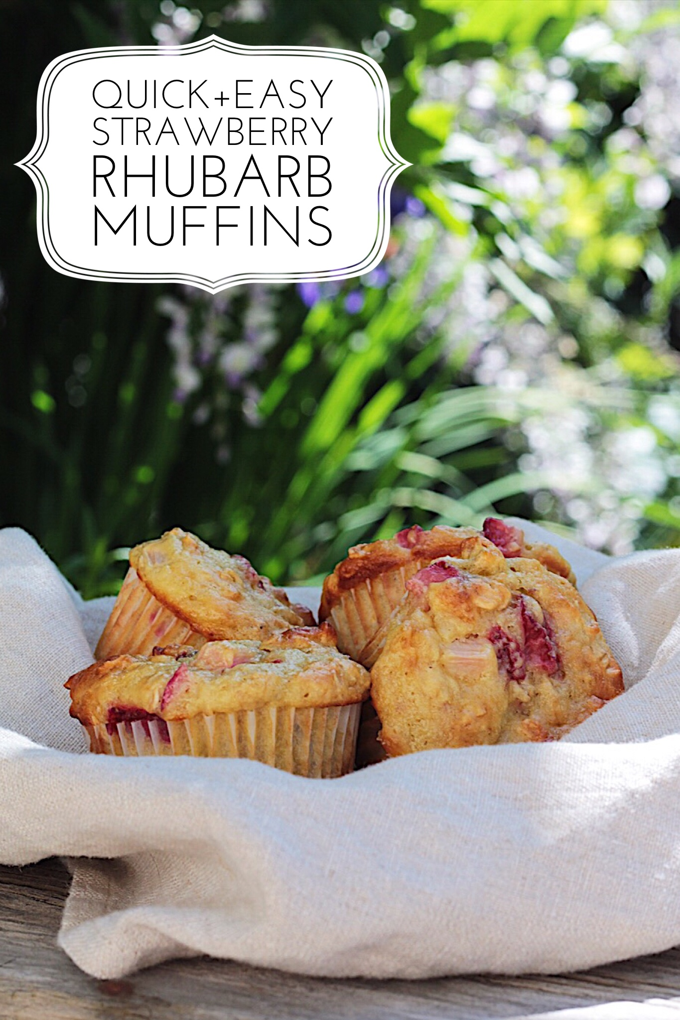 Quick and Easy Strawberry Rhubarb Muffins