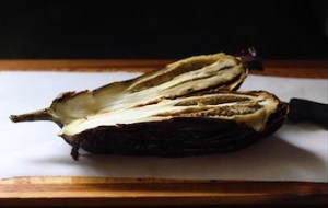 Whole Roasted Eggplant Cut Open