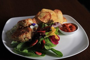 """Dungeness Crab Cakes with Lemon Balm Aioli, Chips and Rustic Roasted Pepper Tomato """"Ketchup"""""""