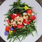 Arugula Salad With Hazelnuts, Strawberries and Goat Cheese