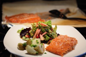 Easy Baked Sockeye Salmon with Salad and Boiled New Potatoes