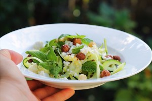 Zucchini Salad With Lemon Dressing, Hazelnuts and Feta