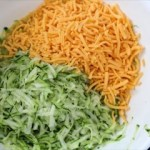 Shredded Zucchini and Cheddar for Fritters