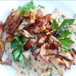 Crispy Browned Mushrooms On Risotto