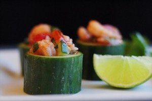 Appetizer Shrimp Cocktail In Cucumber Cups