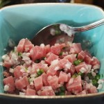 Marinate albacore tuna in lime juice for ceviche